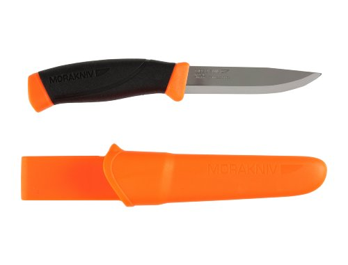 Morakniv Messer - Companion - rostfreier Sandvik Stahl 12C27 - zweifarbiger Griff - neonfarbene Scheide mit Gürtelclip, 134510