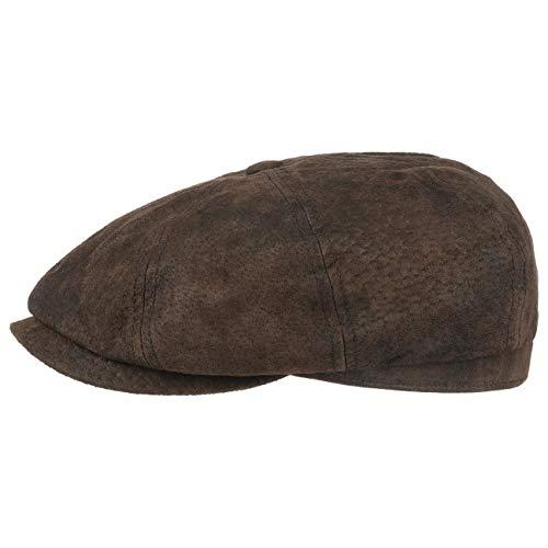 Stetson Hatteras Pigskin Flatcap Herren - Schirmmütze aus Leder - Schiebermütze mit Innenfutter - Mütze - Herrencap Sommer/Winter - Ballonmütze braun S (54-55 cm)