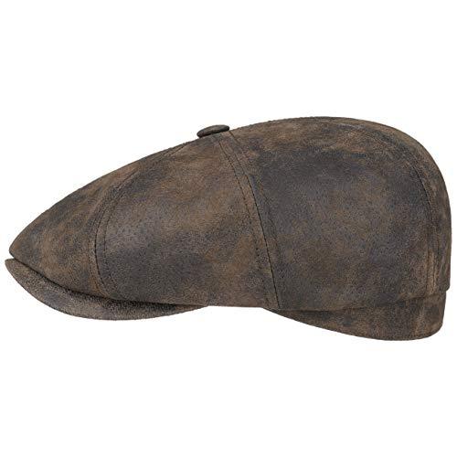 Stetson Hatteras Pigskin Flatcap Herren - Schirmmütze aus Leder - Schiebermütze mit Innenfutter - Mütze - Herrencap Sommer/Winter - Ballonmütze braun M (56-57 cm)