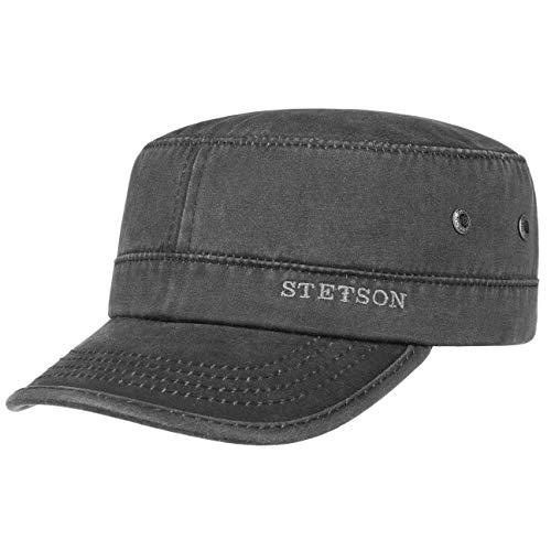 Stetson Datto Army Cap (Kubacap), coole aus Baumwolle gefertigte Militärmütze für Herren, Armee-Mütze Gr.XL/60-61-Schwarz