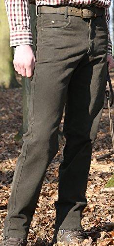 Rascher Loden Stretch Jeans 5-Pocket Outdoorjeans Jagdhose Revierhose Ansitzhose Dunkles grün-braun, Herren, Pirsch, Drückjagd (Gr. 54)